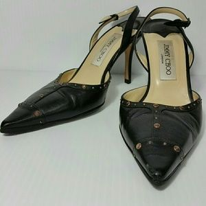 Jimmy Choo Slingback Heels Black Leather w/Studs